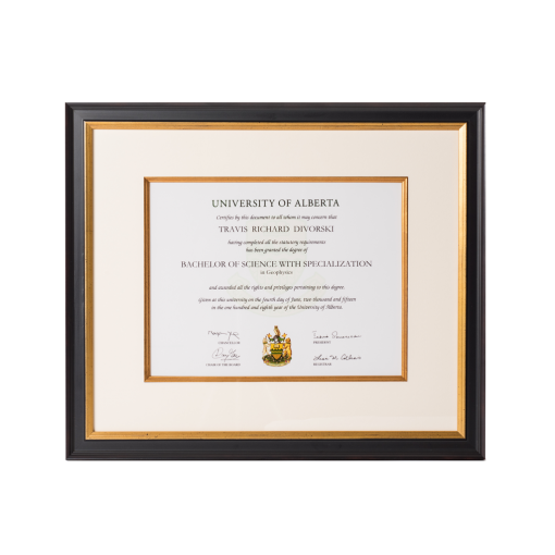 Certificate frame with mat