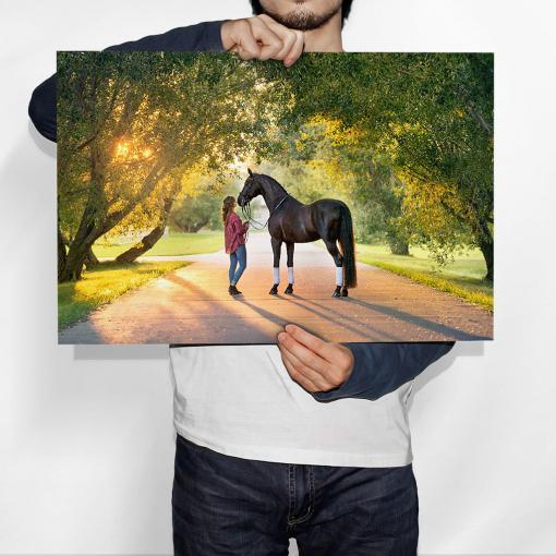 man holding enlargement robert bray lady horse