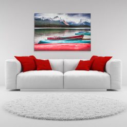 Wall Art Metal Print White Couch Red Pillow